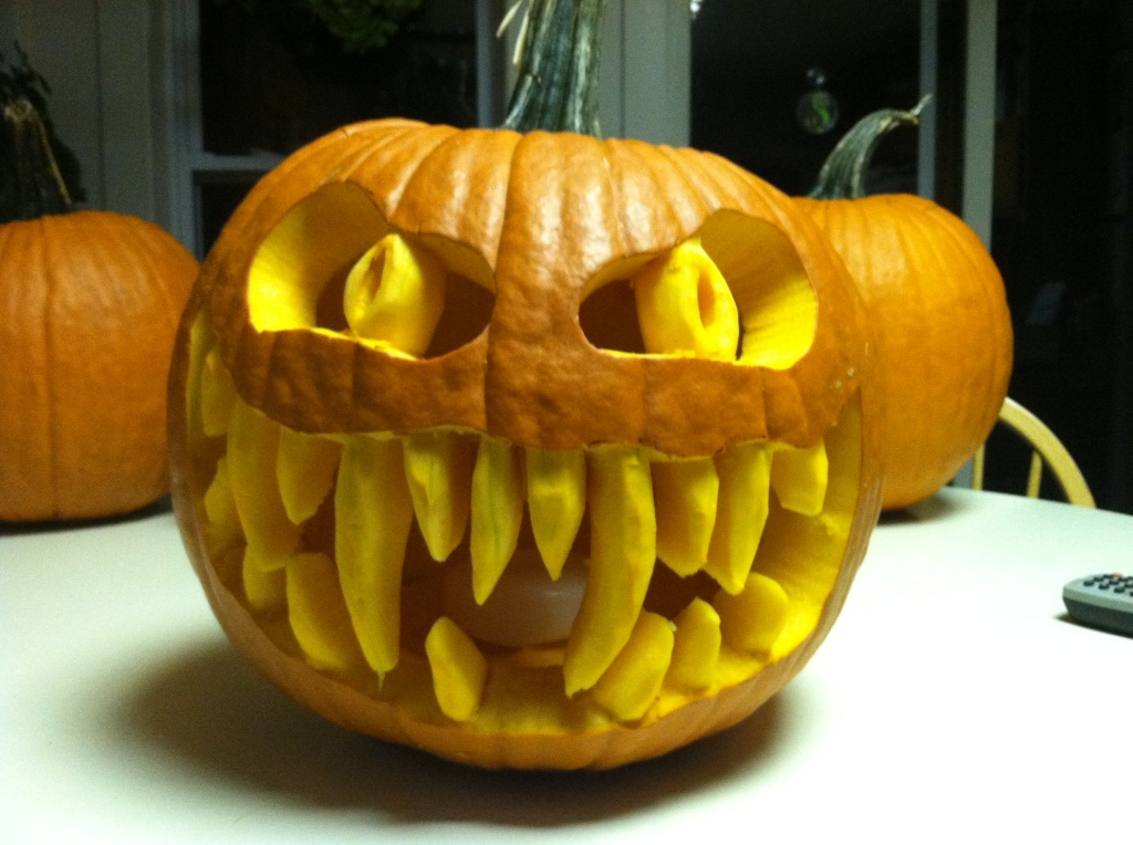 Scary carved jack-o-lantern pumpkin